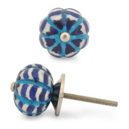 "Knobco - Melon Knob, Blue, White And Turquoise Zig-Zag Small - Blue, White and Turquoise Zig-Zag Melon knob. Unique, hand painted cabinet knobs for your kitchen cabinets. 1.2"" in  diameter. Includes screws for installation."