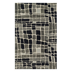 "Loloi Rugs - Loloi Rugs Nova Collection - Grey/Black, 3'-6"" x 5'-6"" - Created in collaboration with Kris Ruff, the Nova Collection celebrates Kris' penchant for bright colors and graphic motifs with 9 hand-tufted 100% wool rugs from India.The bold designs lend themselves best to contemporary interiors looking for a punch of color."