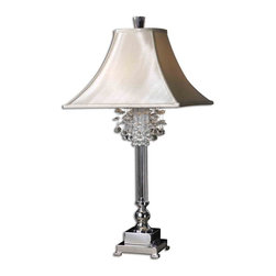 Uttermost - Uttermost Fascination Table Lamp in Crystal - Shown in picture: Silver Plated Metal With Crystal Accents. This lamp features silver plated metal with crystal accents. The square bell shade is a silken champagne textile.