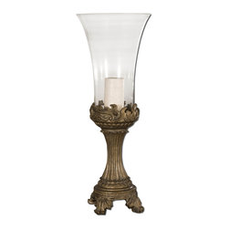 Uttermost - Rococo Golden Hurricane Candleholder - Grace your space with candlelight. This ornate hurricane lantern has a stately gilded base and a wide bell shade to cast a beautiful glow.
