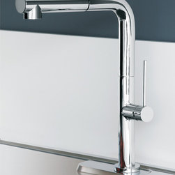 MaestroBath - Contemporary Right Angle Kitchen Faucet   Pull Out Sprayer - This modern single handle kitchen faucet with pull out dual shower is a beautiful focal point in any kitchen. The high end Italian faucet employs an elegantly simple straight angle design which can accommodate any type of kitchen sink. The contemporary faucet is easy to install, keep clean and maintain. Modern chrome faucet is also available in brushed nickel finish. Whether your decorating style is traditional or modern, Maestrobath products will compliment your home improvement project and add a lavish, luxurious feel while protecting your health, safety and the environment.  Here is more information related to MaestroBath: Services Provided: Luxury Handmade Italian Vessel Sinks, Modern and Contemporary Kitchen and Bath Fixtures .. Areas Served: All United States and International Countries… Business Description: Maestrobath delivers contemporary and modern handmade Italian bathroom sinks and designer faucets to clients with taste of luxury. It carries a wide selection of beautiful and unique Travertine, Crystal and Glass vessel sinks in variety of colors and styles. Maestrobath services homeowners and designers Globally. Furthermore, it has dealer partners across United States and international countries.