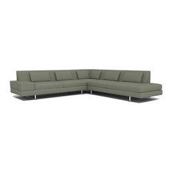 "TrueModern - Hamlin 118"" x 118"" Corner Sectional Sofa with Bumper in Calvin Mouse - Upholstered in pleasingly textured 100% polyester fabric, the Hamlin 118"" x 118"" Corner Sectional Sofa with Bumper in Calvin Mouse features a medium density cushion, allowing you to sit down into comfortable and modern shape. The stitching is made with a classic baseball stitch and the same stitch creates a cross pattern for both the back pillows and back rest. *Sofa Depth: 37"" *Seat Height: 16"""