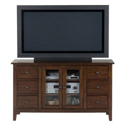 """Jofran - Brentwood Oak 52"""" TV Stand With Glass Doors, 6 Drawers, and 2 Shelves - This entertainment unit is perfect for smaller living rooms or master bedrooms. The casual design features straight edges and tapered feet for a clean, modern look. Six drawers and two glass front doors with two interior adjustable shelves provide ample space for DVD's, media components, and electronics. Wire holes in back panels keep your home free from messy cords. Finished in a medium Eureka Cherry brown with simple round knob hardware, this piece will fit perfectly in your casual-modern home."""