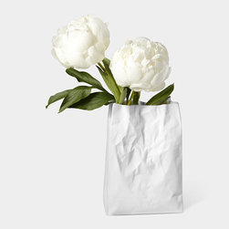 Crinkle Bag Vase - This vase is fun. It looks like a crinkled bag, but it's actually ceramic.