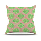 "Kess InHouse - Mydeas ""Diamond Illusion Damask Watermelon"" Pink Green Throw Pillow (18"" x 18"") - Rest among the art you love. Transform your hang out room into a hip gallery, that's also comfortable. With this pillow you can create an environment that reflects your unique style. It's amazing what a throw pillow can do to complete a room. (Kess InHouse is not responsible for pillow fighting that may occur as the result of creative stimulation)."