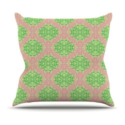 """Kess InHouse - Mydeas """"Diamond Illusion Damask Watermelon"""" Pink Green Throw Pillow (20"""" x 20"""") - Rest among the art you love. Transform your hang out room into a hip gallery, that's also comfortable. With this pillow you can create an environment that reflects your unique style. It's amazing what a throw pillow can do to complete a room. (Kess InHouse is not responsible for pillow fighting that may occur as the result of creative stimulation)."""