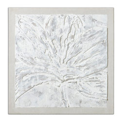 Uttermost - Ghost Bloom Floral Art - This floral is hand painted on canvas and with the buildup of many layers of paint, creates a 3-dimensional effect. The canvas is stretched and attached to a wooden stretcher that is then attached to a backboard covered in off-white, loosely woven, linen fabric. Due to the handcrafted nature of this artwork, each piece may have subtle differences.