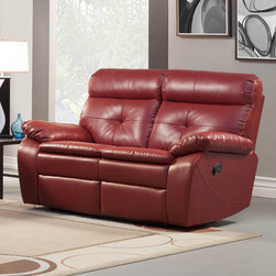 Homelegance - Homelegance Wallace Leather Double Reclining Loveseat in Red - The spirited color offerings of the Wallace Collection makes this group a fun addition to your home's living room. Offered in red or black bonded leather match, each piece is the ultimate expression of your personality. Building onto to the look of the group is comfort and function. Each piece features tufting that provides support and style along with a reclining mechanism. Both the sofa and love seat feature dual reclining while the chair features not only a reclining mechanism but glider function as well. - 9604RED-2.  Product features: Red bonded leather match; Reclining mechanism; Dual reclining; Also available in Black. Product includes: Loveseat (1). Leather Double Reclining Loveseat in Red belongs to Wallace Collection by Homelegance.