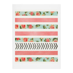DENY Designs - DENY Designs Allyson Johnson Floral Stripes And Arrows Art Print - Finally an affordable wall art option! Order one statement print or live on the edge and dream up an entire gallery wall. And whether you frame it or hang it as-is, your walls will be big on inspiration while being kind on your pocketbook.