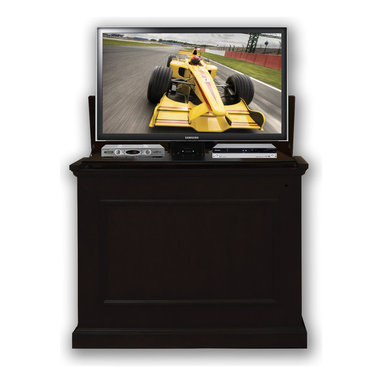 """Touchstone Home Products - Elevate Rich Black TV Lift Cabinet for Flat Screen up to 42"""" - With the Elevate TV Lift Cabinet in a rich black finish, you won't have to sacrifice your home's decor for your flat screen TV and the quality black lacquer finish will simply wow you. Don't be misled by the Elevate Rich Black's price, you'll be thrilled with the quality of this TV Lift. Primarily designed for use at the foot of your bed, the Elevate Rich Black gives your room the look of a beautiful chest at the end of your bed when not elevated. When you are ready watch television, the lift elevates your flat screen to the ideal height for in-bed viewing. Designed for flat screen TV's, the Elevate enhances your viewing experience by placing the TV at the optimal viewing height and hides your TV away securely when not in use. The Elevate's four-sided finish gives consumers the versatility to have amazing flat screen viewing at the foot of the bed, in the living room, or anywhere in the home. Included in the Elevate Rich Black is Touchstone's Whisper Lift II TV Lift, which fully raises or lowers your flat screen TV in less than 30 seconds, and reaches an extended height of 65.5""""."""