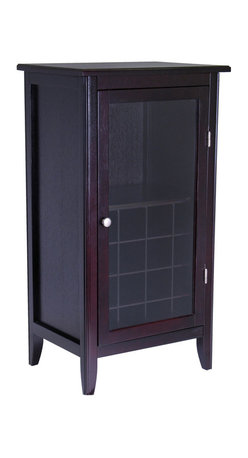 Winsome - Ryan Wine Cabinet 16-Bottle - Wine Cabinet offers a great alternative in storing your favorite wines. 1 glass door opens to storage of stemware and up to 16 bottles. Elegant and simple addition to your home. Assembly Required