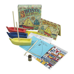 "Kids Three Boats in a Box Kit - The kids three boats in a box kit measures 4.25 x 4.5 x 1.5"". Build and paint your own fishing fleet. Add signal flags for a fun and finishing touch."