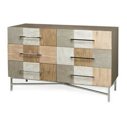 Interlude Home - Interlude Home Mara 6 Drawer Chest - This Interlude Home 6 Drawer Chest is crafted from Wood and Metal and finished in Charcoal and Mulit Ceruse and Polished Nickel.  Overall size is:  51 in. W  x  22 in. D x 33 in. H.