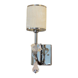 Lightupmyhome - White Tuxedo Shade Wall Sconce Light Fixture, Chrome Finish - This gorgeous white wall sconce will prove to update any home decor.  With a fabric shade and a striking chrome finish this wall fixture will light up your home.