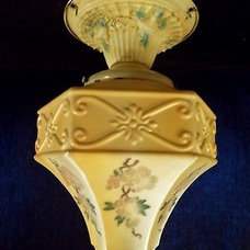 Embossed 1920s RARE Hand Painted Art Deco Glass Globe Ceiling Light Fixture | eB