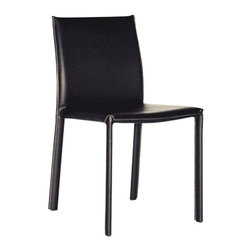 Wholesale Interiors - Baxton Studio Leather Dining Chair - Set of 2 - This dining chair set offers you a classy and comfortable place to sit in your dining area. The detail on these beautiful chairs is wonderful, including the contrasting stitching going down the legs of the chairs. Durable bonded leather upholstery for longer lasting use and stain resists for easy clean up. Chair constructed with sturdy steel frame lightly padded with high density foam for added comfort.