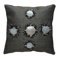 Kouboo - Decorative Pillow Cover with Kabibe Seashell and Beads, Black - This unique, hand-woven throw pillow is decorated with naturally iridescent, exotic Kabibe seashell. Additionally adorned with wooden and glass beads, this decorative accent is perfect for embellishing sofas or chairs, or incorporated into any bedroom decor. Woven of Abaca fabric derived from the leaves of the tree-like Abaca herb, this beautiful accent lends a seashore ambiance to any room of the home.1 year limited warrantyKabibe seashell, Wood & Glass Beads on hand-woven Abaca fabricInsert not includedClean with soft, damp cloth only Weighs 0.6 lb