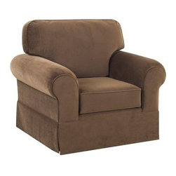 Klaussner Woodwin Chair - Chocolate - Round out the look of your living room or add comfort to your bedroom with the Klaussner Woodwin Chair - Chocolate. This comfortable chair has a trim, tailored look and soft chocolate brown fabric upholstery you'll love. It's well-built with a durable hardwood frame, firm box-style seat, and T-shaped back cushions. Its rolled arms, welt trim, and classic dressmaker skirt complete the look nicely.About KlaussnerWith 16 U.S. manufacturing and distribution facilities and over 3,000 employees, Klaussner is well known for its quality, value priced home furnishings, produced by highly skilled employees and distributed by furniture retailers throughout the world. Asheboro, N.C., is home for several of Klaussner's manufacturing and distribution facilities as well as the company's corporate headquarters and a 100,000 square foot showroom. In recent years Klaussner has also begun to utilize worldwide sources to import leather upholstery, bedroom, dining room, occasional, entertainment, accents and most recently a full line of accessories. This has allowed Klaussner to become a full product and service provider for the whole home.