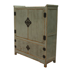 Four Hands - Media Armoire - In homage to ages-old Chinese design, this armoire offers a beautiful way to conceal your media components. Salvaged wood is distressed and hand-painted in a style that preserves venerable patterns, with a crackled, multilayered lacquered finish for an authentically aged feel.