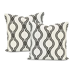 EFF - Ogee Black Contemporary Cotton Pillow Cover (Set of 2) - Decorate your home in contemporary style with these Ogee pillow covers. Crafted with soft cotton,these square white pillowcases feature a contemporary black latticework pattern,finished with a charming envelope-style button closure.
