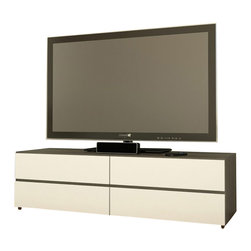 Nexera - Nexera Allure 60-Inch TV Stand, 2 Drop-Down Doors, 2 Drawers - Allure 60-inches TV Stand is part of the collection's modular design and can be paired with any other Allure TV Stands to create a wider entertainment set. It can also be paired with any Allure storage units and matching occasional tables to create a complete room setting. This Allure 60-inches TV Stand features 2 closed sections at the top with drop-down doors, ideal to store your electronic components away from dust, and 2 large drawers on metal slides at the bottom, perfect to store and organize all your DVDs, accessories and more. Allure Collection from Nexera is offered in a distinctive Ebony and White contemporary finish and proposes modular and flexible combinations for your entertainment room, home office area and your bedroom.