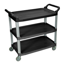 Luxor Furniture - Serving Cart - Durable polypropylene shelves and aluminum uprights. 300 lb. capacity (evenly distributed). Generous handles on each side for maximum control. Easy to maneuver with 4 in. PVC casters. 40 ½ in. W X 19 ¾ in. D X 37 ¼ in. H. . Top shelf is 29 ½ in. W x 19 ¼ in. D. Lower shelves are 33 ¼ in. W x 19 ¼ in. D.. Lifetime warranty3-Shelf large serving cart is designed for maximum storage and weight capacity. Overall cart dimensions are All shelves include a 1 in. lip on both sides and the back to help control contents. Shelves are spaced 12 in. apart for easy loading and unloading. Constructed of durable polypropylene plastic to resist scratches, chips and dents. Durable and light weight aluminum uprights provide excellent stacking strength. Easy to assemble.