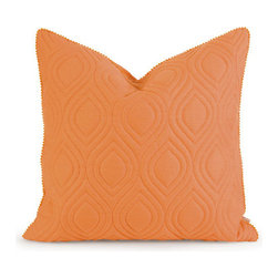 IMAX - IK Kavita Orange Linen Quilted Pillow w/ Down Fill - - Iffat Khan has developed a luxurious collection of down pillows with quilted details and top of the line fabrics. Iffat?s refined aesthetic is evident in her collection which combines clean modern, classic casual and timeless traditional styles  - Materials: 100% Linen (185 GSM)  - Country of Orgin: China IMAX - 42155