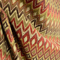 Swavelle - San Mateo Redwood Swavelle Upholstery Southwest Chevron Fabric By The Yard - San Mateo in the color Redwood is heavy upholstery fabric. This Southwest geomtric fabric is perfect for furniture, ottomans, bedding, window treatments and more.