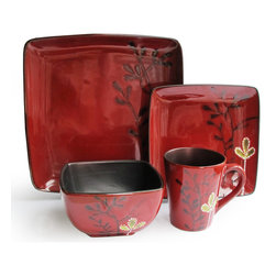 Jay Import Co - Elise Red 16 Piece Dinnerware Set - Delight your crew at every meal with this 16-piece set (full service for four). The square plates, branch design and shiny glaze have a slightly Asian feel that will add warmth and charm to your table.