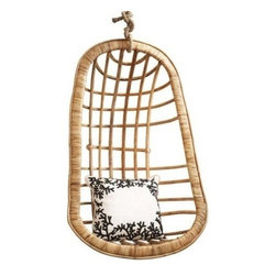 Two's Company - Hanging Rattan Chair - Two's Company Hanging Rattan Chair is a striking example of high design for your outdoor (or indoor) living space. This hanging chair is made from all-weather resin, It comes complete with weather-loving cushions as shown in picture.