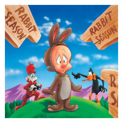 Oriental Furniture - Bugs, Daffy and Elmer Fudd Rabbit Season Wall Art - Elmer Fudd gets hoodwinked by Bugs Bunny and Daffy Duck in this authentic, limited edition canvas art print. The authorized Looney Tunes image is professionally reproduced from the original cartoon graphic in the giclee style and stretched over a mitered wood frame.