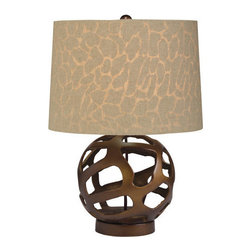 "Kichler - Kichler 70871 Baringo 1 Light 18.5"" High Table Lamp - Kichler 70871 Baringo 1 Light 18.5"" High Table LampArtistic globe shaped base with a Brown / Beige linen shade that has a Giraffe pattern that is visible when the lamp is illuminated.Kichler 70871 Features:"