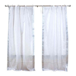 Indian Selections - Pair of White Silver Tie Top Sheer Sari Curtains, 43 X 84 In. - Size of each curtain: 43 Inches wide X 84 Inches drop