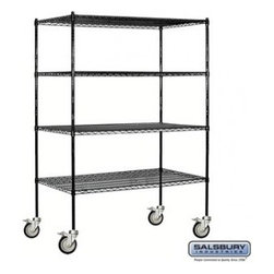 Salsbury Industries - Wire Shelving - Mobile - 60 Inches Wide - 80 Inches High - 24 Inches Deep - Blac - Wire Shelving - Mobile - 60 Inches Wide - 80 Inches High - 24 Inches Deep - Black