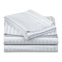 650 Thread Count Egyptian Cotton King Gray Stripe Sheet Set - Want the feel of a Luxury Hotel in your bedroom? This 100% Egyptian Cotton Sheet Set brings the unique feel of a high-quality luxurious sheets to your bedroom. Feel like a Queen or King nestled in the most luxurious bed linens available.  Breathable and Durable, these 650 Thread Count Sheets are made to last forever. Flat Sheet and Pillowcases feature a tuxedo pleated hem to add an elegant look to any decor. Set includes flat sheet 110x104, fitted sheet 78x80 and two pillocases 21x42.