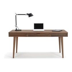Jesper Office Furniture - Highland 75 Desk with Wood Legs in Walnut - Features:
