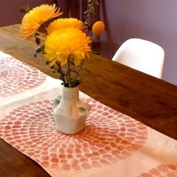Giant Chrysanthemum Table Runner by Tulusa Home Goods - Dress up your table with this big chrysanthemum, block-print runner. Although the graphic is bold and modern, the block printing gives it a more rustic vibe.