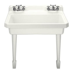 """KOHLER - KOHLER K-6607-4-0 Harborview Self-Rimming or Wall-Mount Utility Sink with Four-H - KOHLER K-6607-4-0 Harborview Self-Rimming or Wall-Mount Utility Sink with Four-Hole Faucet Drilling, Two Holes on Both Sides of Sink in WhiteWith its generous workspace, the Harborview 48"""" countertop sink performs double duty as a kitchen or utility sink. Constructed of durable KOHLER Cast Iron, this model is suitable for countertop installations and features two sets of two-hole faucet drillings on the backsplash.Please see our Delivery Notes for Freight Shipments for products that are oversized and/or are too heavy to ship UPS ground. KOHLER K-6607-4-0 Harborview Self-Rimming or Wall-Mount Utility Sink with Four-Hole Faucet Drilling, Two Holes on Both Sides of Sink in White, Features:• Generous cast iron workspace performs double duty as a kitchen or utility sink"""