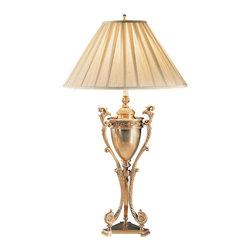 """Inviting Home - Greek Urn Lamp - traditional table lamp; 21-1/4"""" x 36-1/2""""H; Antiqued solid brass lamp with tripod base and classic Greek urn design. This brass lamp has round pleated fabric shade; max. 150 watts. Shade size: 7-1/2"""" top 21"""" bottom 11-1/2"""" high 13-1/2"""" slant height"""