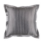 """Surya - Sleek Metallic Square Pillow AR-005 - 18"""" x 18"""" - This pillow's sleek metalic design add a touch of class to your room. The color gray accents this decorative pillow. This pillow contains a poly fill and a zipper closure. Add this pillow to your collection today."""