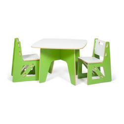 Quark Enterprises - Kids Table and 2 Chairs, Green/White - This is a great little table and chairs combo. The table is easily stored away and then quickly re-assembled when needed. The chairs are sturdy and you can feel good because they're made from recycled materials in the USA.