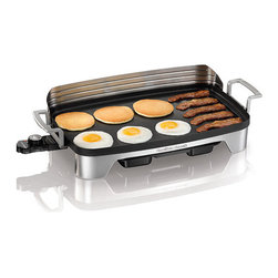 Hamilton Beach - Premiere Cookware Electric Griddle - Perfect for a big breakfast and beyond - Hamilton Beach Griddles.Hamilton Beach Griddles give you the space to cook pancakes, bacon and eggs for the whole family, without multiple burners and pans. These popular nonstick griddles continue to shine after the meal, with incredibly easy cleanup. Just remove the cord and put the whole griddle in the dishwasher.The Hamilton Beach Griddle has an adjustable heat setting, so you can cook foods at the perfect temperature. Plus, it has cool-touch handles and an extra-large drip tray that channels grease away from food, making it a cook 's best friend.220 sq. inch nonstick cooking surfacePerfect for family gatheringsDurable die-cast pan and handlesBrushed stainless steel baseRemovable stainless steel backsplashTemperature control adjusts from 200 to 400 degrees F