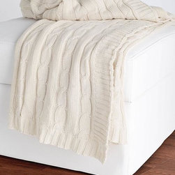Cable-Knit Decorative Throw, Cream - Creamy cable-knit throws are both pretty and functional. Stack one, two or five in a pretty woven basket, or a rustic crate or box.