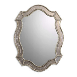 Uttermost - Uttermost 08026 B Felicie Oval Gold Mirror - Golden Antiqued Etched Mirror w/ Gold Leaf Beaded Edges