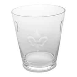 Fleur De Lis Clear Glass Ice Bucket - Formal purity of line marks the Fleur De Lis Clear Glass Ice Bucket as an elite accessory. Whether you place it as a decor active element or use it for its intended purpose to provide portable ice for beverages or chill a bottle of good wine, this weighty glass container with its ancient yet timeless heraldic symbol brings European interest to the home.