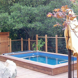 Original Endless Pools® - Custom-built into this wood-and-wire deck, this Endless Pool installation still has a pastoral feel thanks to its elevation towards the tree tops. Warm wood tones and the autumnal shades of the Japanese maple add to the graceful ambiance.