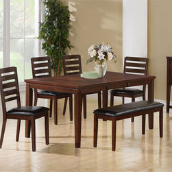 None - Dark Espresso Birch Veneer Dining Table - The dark espresso birch finish,18-inch extendible leaf and two toned brown design make this piece the perfect choice for an intimate dinner with family and friends.