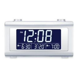 M.z. Berger & Company, Inc. - Nelsonic Automatic Time Set Digital Alarm Clock Radio - Enjoy greeting and ending your day with the Nelsonic Automatic Time Set Digital Alarm Clock. Arise to an alarm or a favorite radio station. Easy-to-read display and top sliding buttons make it user-friendly. A handy calendar display keeps you up to date.