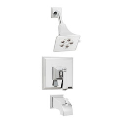 Speakman - Speakman Rainier Shower System w/ Valve and Diverter Tub Spout Polished Chrome - Speakman's Rainier Shower and Tub System Combination adds a unique square design to complete a bold look in the bathroom. The Rainier chrome faucet prevails a striking masculine update to your traditional styled bathroom fixtures. The newest design collection to the Speakman family; the Rainier Shower and Tub System Combination pairs with the Rainier collection of faucets and other bathroom accessories to present iconic exclusivity in any bathroom.