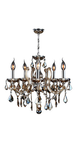 """Worldwide Lighting - Catherine 5 Light Chrome Finish & Golden Teak Crystal Chandelier 18"""" - This stunning 5-light Crystal Chandelier only uses the best quality material and workmanship ensuring a beautiful heirloom quality piece. Featuring a radiant chrome finish and finely cut premium grade golden teak (translucent champagne color) crystals with a lead content of 30%, this elegant chandelier will give any room sparkle and glamour. Worldwide Lighting Corporation is a privately owned manufacturer of high quality crystal chandeliers, pendants, surface mounts, sconces and custom decorative lighting products for the residential, hospitality and commercial building markets. Our high quality crystals meet all standards of perfection, possessing lead oxide of 30% that is above industry standards and can be seen in prestigious homes, hotels, restaurants, casinos, and churches across the country. Our mission is to enhance your lighting needs with exceptional quality fixtures at a reasonable price."""